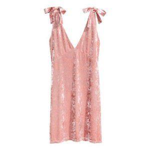 H&M Divided Velvet Tie Strap Dress Rose Pink